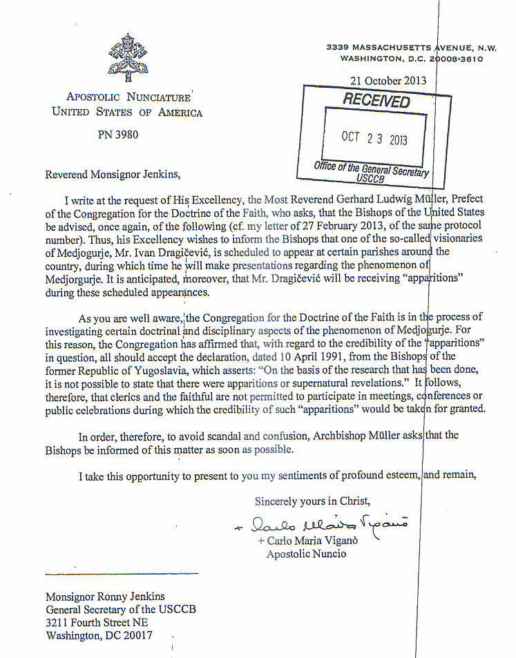 CDF to USCCB on Medjugorje